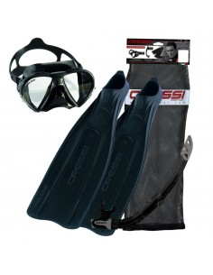 Cressi Pro Star Black Mask, Snorkel and Fin Set - Adult