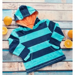 Big Fisch - Towelling Top - Kids - Navy/Sky Stripe