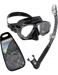 Cressi Mask & Snorkel Set - Marea + Dry - Black Silicone/Black frame