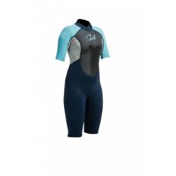 GUL Shortie - 3/2 Response Flatlock Womens - Nav/Turquoise