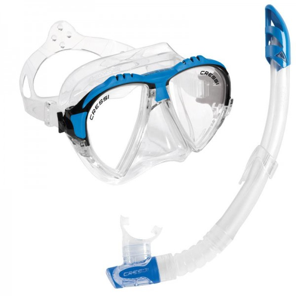 Cressi Mask & Snorkel Set - Matrix Mask and Gamma Snorkel Set - Clear/Blue