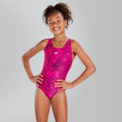 Speedo - Swimsuit - Junior - Boom Allover Splashback - Electric Pink/Black