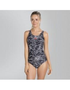 Speedo Swimsuit - Boom Allover Muscleback - Black/White