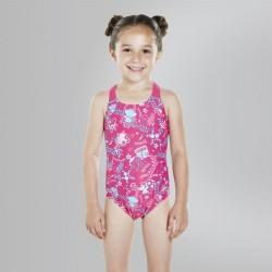 Speedo - Kids - Seasquad Allover Swimsuit - Pink/Pink