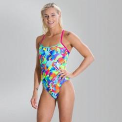 Speedo Swimsuit - Flipturns Single Crossback - Pink/Green