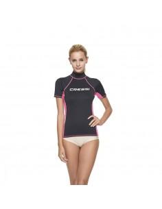 Cressi Rash Guard - Short Sleeve - Womens - Black/Pink