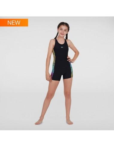 Speedo - Swimsuit - Junior - Jungle Glow Allover Leaderback Legsuit - Black/Green