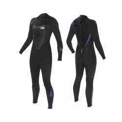 TIKI  Wetsuit - 3/2 Womens Tech-Back Zip - Black/Purple